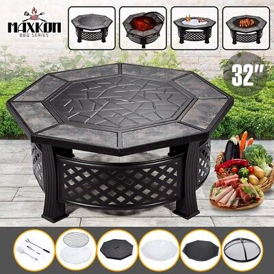 """32"""" Fire Pit 4-in-1 Patio BBQ Table Grill Camping Heater Fireplace Brazier"""