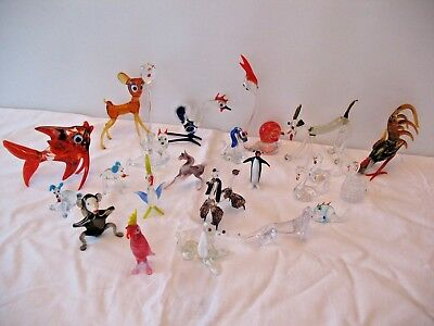 Job lot of old vintage mid century hand blown Murano glass animals birds etc
