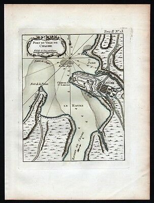1764 - Cristoba Colon Panama Bellin handcolored antique map