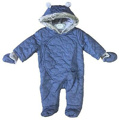 Baby Boys Snowsuit Quilted Hooded All In One Bhs Rrp £22 Steel Blue 0-9M Bnwt