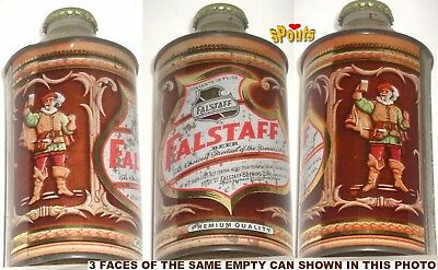 NICE 4% 1950's FALSTAFF PREMIUM CONE TOP BEER CAN TIN OMAHA,NE.NEBRASKA CAVALIER