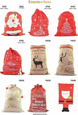 Christmas Santa Hessian Mail Post Sack Red Felt Xmas Stocking Gifts Filler Bags