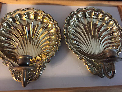Set of 2 Brass Scalloped Clam Sea Shell Wall Sconces Candle Holders