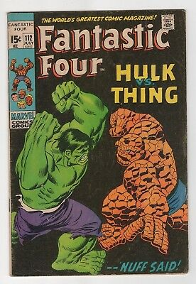 Marvel Comics Fantastic Four #112 Hulk vs The Thing Bronze Age