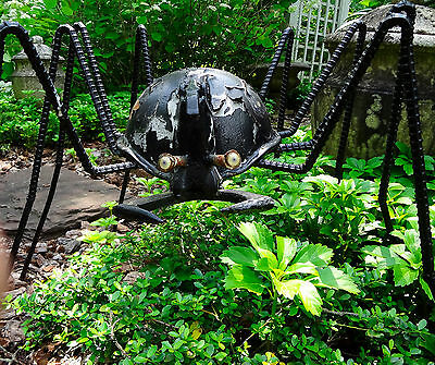 Vtg Huge 3' Wrought Cast Iron Garden Spider Wwii War Helmet Statue Urn Ornament