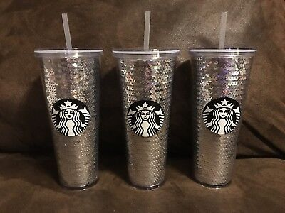 ~NEW 2017 STARBUCKS Clear Cold Cup~SILVER SEQUINS~TUMBLER 24 fl oz VENTI~Limited