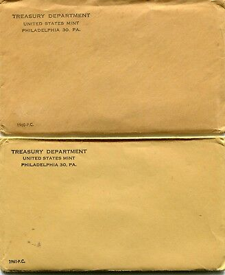 Docs 2 Brown Envelope Proof Sets - Early Dates 1960 & 1961-Free Holiday Shipping