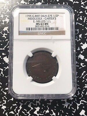 1795 Great Britain Middlesex Conder Token Halfpenny NGC MS63 BN Lot#G527 DH#275
