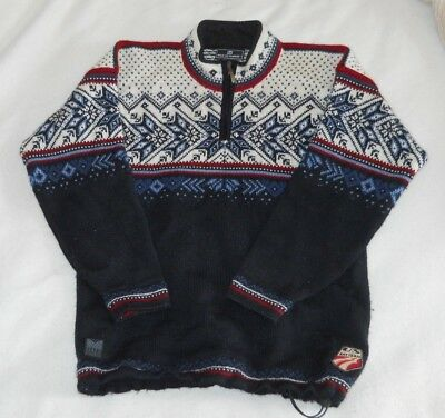 DALE OF NORWAY 100% wool sweater US Ski Team- M, 1/4 zip, w/ drawstring Nordic