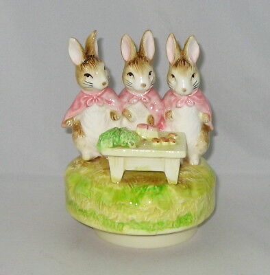 "Beatrix Potter Music Box By Schmid ""FLOPSY, MOPSY & COTTONTAIL"" Peter Cottontail"