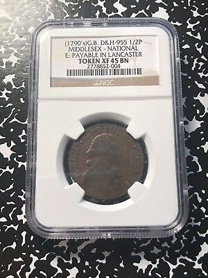 1790's Great Britain Middlesex Conder Token Halfpenny NGC XF45 #G531 DH#955
