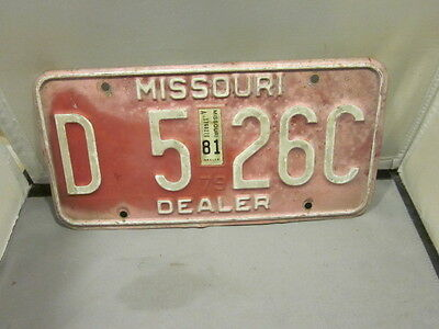Vintage 1979 1981 Missouri Dealer License Plate Expired Over 3 Years # D 526C