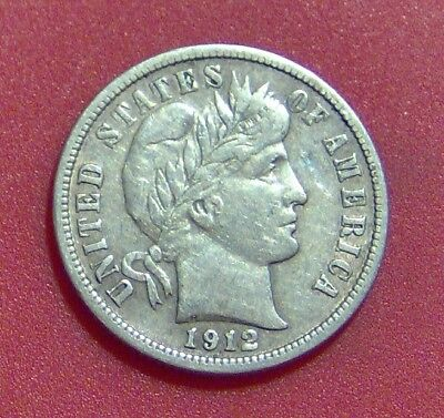1912 D Barber Dime Silver Ten Cent Piece Free Shipping B1153