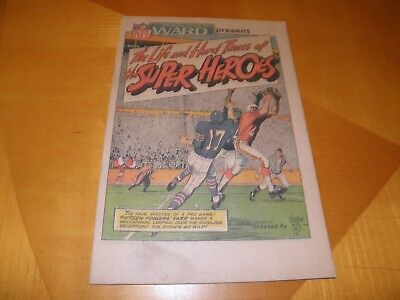 1968 Montgomery Wards NFL Giveaway Life And Hard Times Of The Super Heroes VG