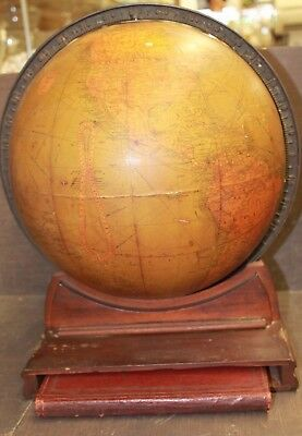 Vintage Beautiful World Globe With Bronze & Wood Stand Inc 1923 Atlas Book