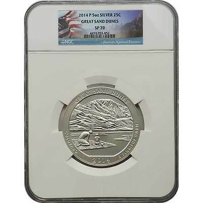 2014 P Great Sand Dunes NGC SP70 ATB 5 oz Silver Coin ( Flag Label )