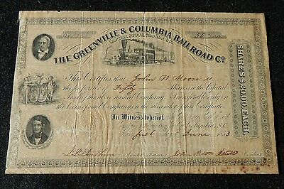 GREENVILLE & COLUMBIA RAILROAD CO. stock certifcate dated 1853