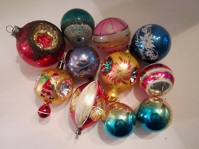 Vintage lot of 11 mercury glass christmas ornament ball indents, stripe, stencil