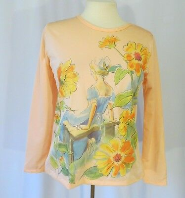Vintage 70s Shirt Top Blouse Girl in the Garden Picture