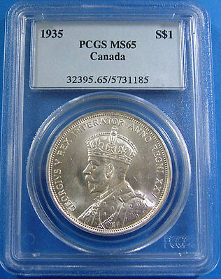 1935 MS 65 Canada Silver Dollar PCGS Certified Canadian $1 Coin