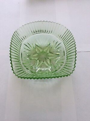 Pressed Uranium Glass Square Bowl