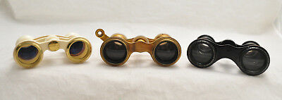 3 Pair Of Antique Opera Glasses Binoculars Mother Of Pearl Milk Glass Leather