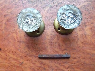 Two Antique Fluted Glass & Brass 1920's Doorknobs Door Knobs & Rosettes