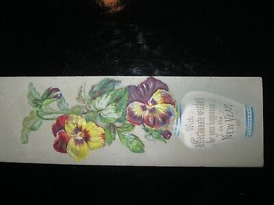 Victorian Trade Card 1800's New Year EMBOSSED Bookmark Pansy Vase 40