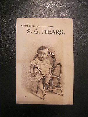 Victorian Trade Card 1800's S.G. Mears  Baby Chair Family GREAT 54
