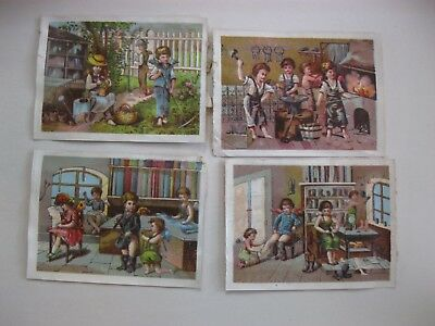 Victorian Trade Card 1800's Baking ANGELS workers Iron Cobbler Taylor Garden  40