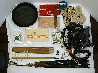 Chinese Vtg/Antique Lot Prayer Beads Scissors Embroidered Silver Brass Cast Iron