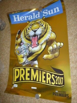 2017 Richmond Premium Limited Edition Gold Premiership  Knight Poster Herald Sun