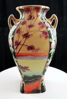 "Japanese Vintage Hand Painted Lake Scene And Floral Handled 8"" Corset Vase"