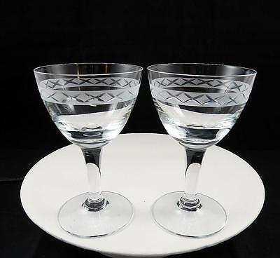 """Holmegaard Crystal Ejby Jacob E Bang 2 Pc Frosted Band 5 1/8"""" Wine Glasses 1937"""