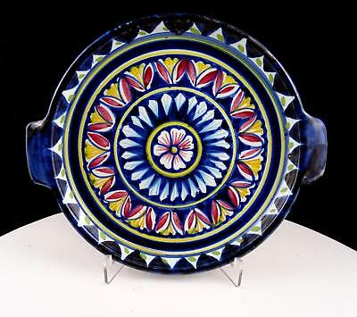 """Ravello Italy Art Pottery Hand Painted Blue Red & Yellow 8 1/4"""" Handled Plate"""