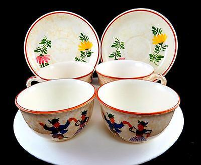 "Alpine Peasant Ware Schramberg Smf Porcelain Two Cups & Four 6"" Saucers"