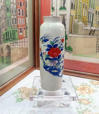 "Hand Painted Made In Japan Bird Of Paradise & Floral 9 5/8"" Cylinder Vase"