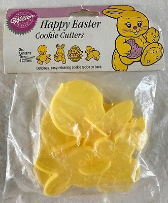 4 Wilton Happy Easter Cookie Cutters New Duck Rabbit Egg Lamb + Recipe 1989