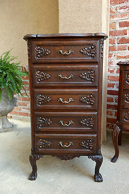 Slim Antique French Carved Dark Oak Chest of Drawers Jewelry Cabinet Louis XV