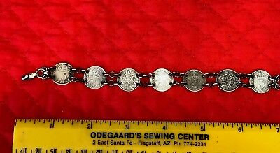 Old Bracelet Made of 7 Old,3 Pence Coins,1891,1908,1918,1920,1932 +1Half Pence