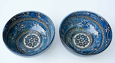 PAIR of BEAUTIFUL Bowls FLORAL Blue & White Hand painted JAPAN
