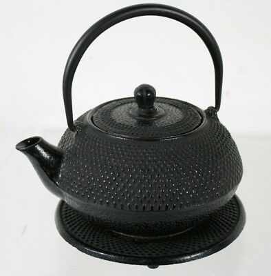 Vintage Japanese Tetsubin Cast Iron Hobnail Teapot Signed With Infuser Trivet