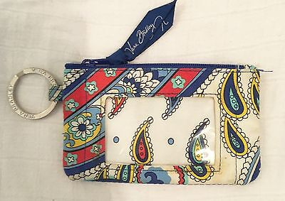 Vera Bradley ID Coin Purse Key Holder Marina Paisley Zip Top 5 X 3 Inch