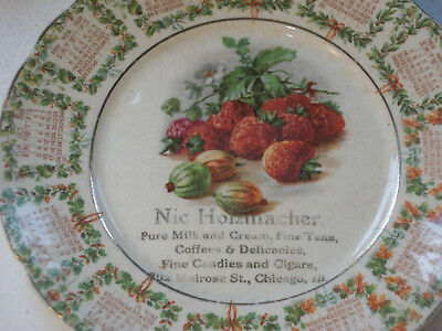 1909 Calendar Plate Nic Holzmacher – Grocer Candy and Cigars 702 Melrose Chicago