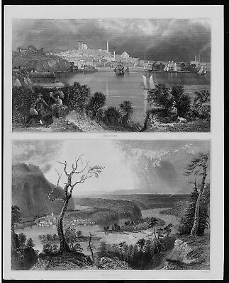1850 - Baltimore Maryland Harpers Ferry Virginia America engraving Stahlstich