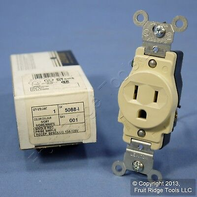 Leviton Ivory Commercial Straight Blade Single Outlet Receptacle 5-15 15A 5088-I