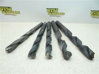 """Lot Of 5 Hss Straight Shank Drills 3/4"""" To 15/16"""" Cle-Forge Ptd"""