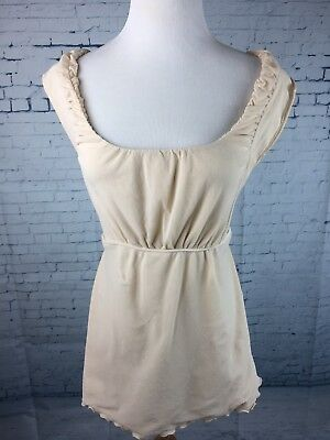 Mimi Maternity Size L Sleeveless Top Nylon Spandex Beige Ties In Back EUC
