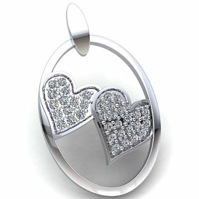 Natural 0.75ct Round Cut Diamond Ladies Together Forever Heart Pendant 10K Gold