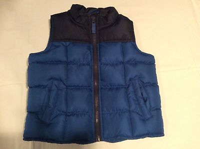 Cherokee Boys Outdoor Puffer Vest Toddler M2/3 Blue Black Front Zipper Quilted